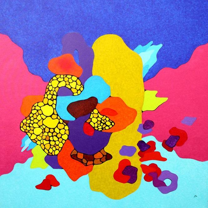 Nell'universo della mia cantina - Olio su tela cm 100x100
